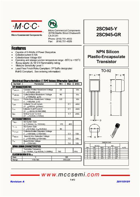 transistor ic 2sc945 gr 2781658 pdf datasheet ic on line