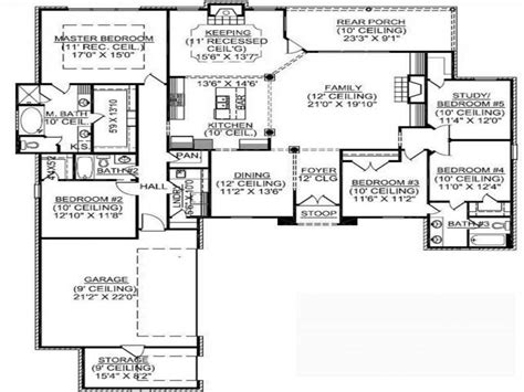 5 bedroom floor plans 1 story 1 5 story square house plans 1 story 5 bedroom house plans