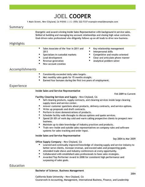 sales support resume sles best inside sales resume exle livecareer