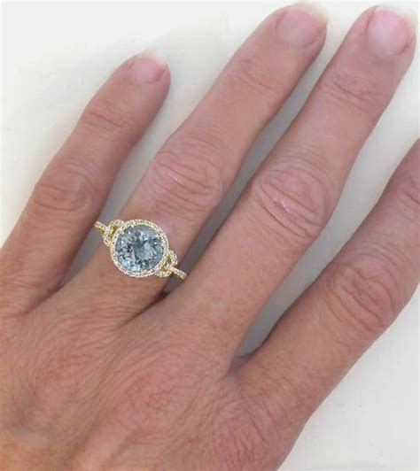 light amethyst engagement rings 8mm round aquamarine and halo ring in 14k yellow