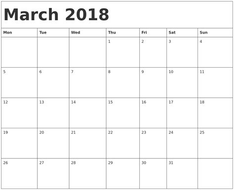 printable monthly calendar starting monday march 2018 calendar template 2018 calendar printable