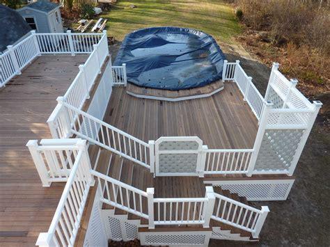 multi level  ground pool deck ipe ironwood decking