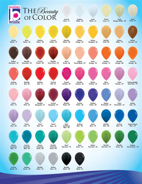 Color and size chart balloonacy