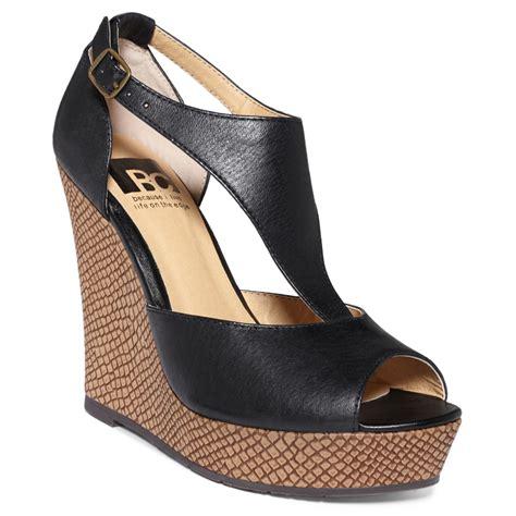bc footwear lickety split tstrap platform wedge sandals in