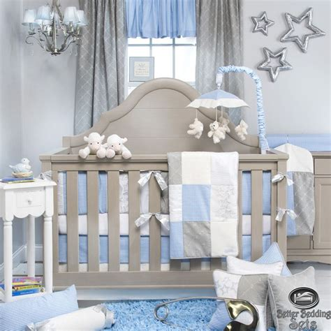 boy nursery bedding sets details about baby boy blue grey star designer quilt