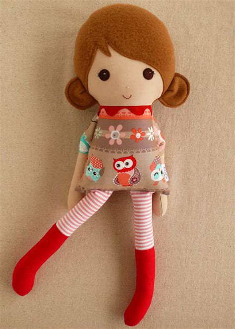 Handmade Dolls - fabric doll rag doll brown haired in owl print by