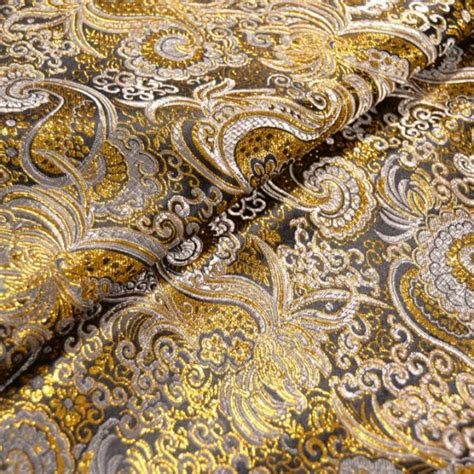 stoffe tappezzeria vendita on line tessuto broccato nero oro prezzo al metro 12 80