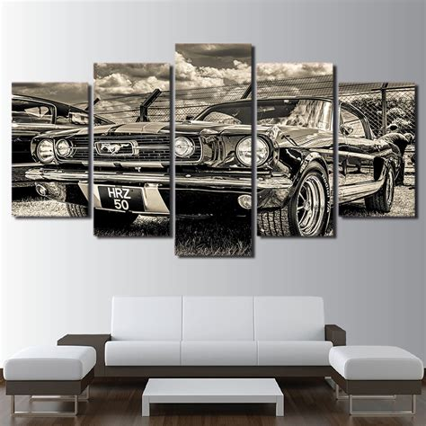 ford home decor modular hd print artwork modern sports car poster home decor wall art 5 pieces pictures 1965