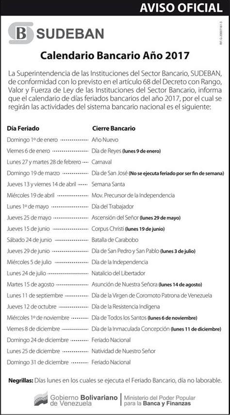Calendario 2017 Por Dia Consulte El Calendario Bancario De Para 2017
