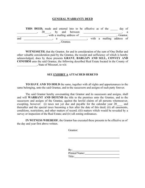 warranty deed template 40 warranty deed templates forms general special