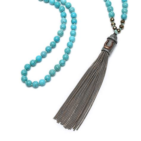 Handmade Turquoise Necklace - aobei pearl handmade turquoise necklace with chain tassel