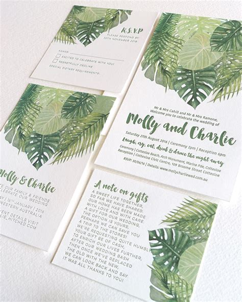 tropical wedding invitation sets tropical wedding invitation suite palm leaves letterpress