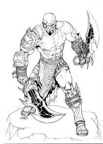god of war coloring pages kratos inks by rubusthebarbarian on deviantart