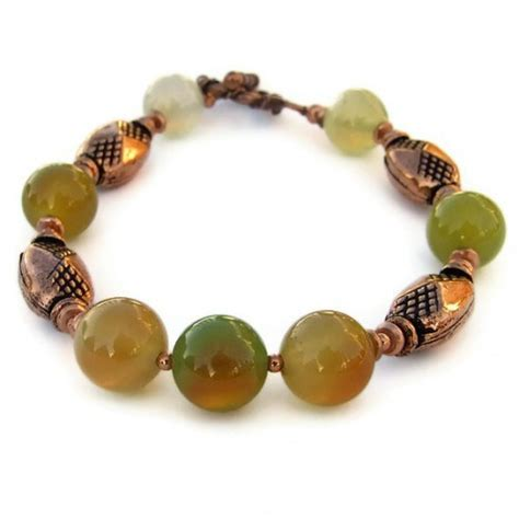 Handmade Beaded Gemstone Jewelry - handmade bracelet green agate copper gemstone beaded