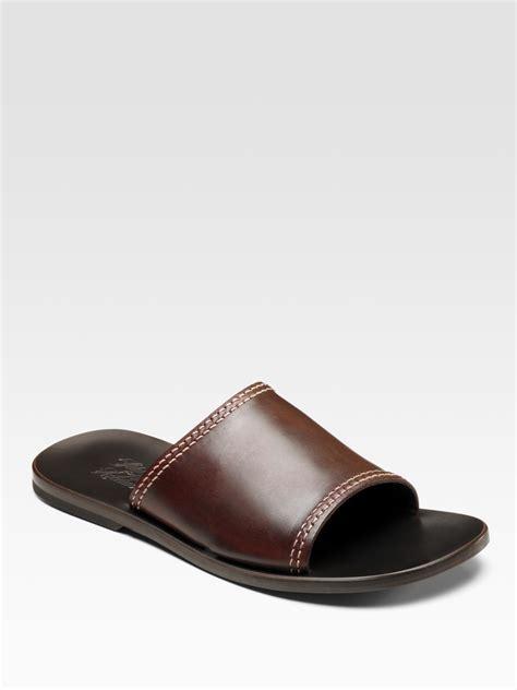 brown slide sandals saks fifth avenue single slide sandals in brown for lyst