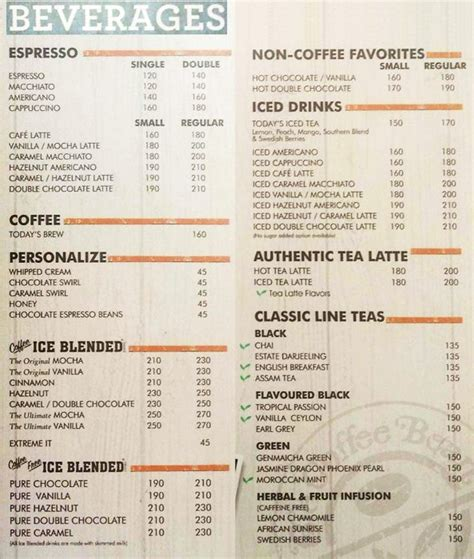 Menu Coffee Bean Indonesia the coffee bean tea leaf menu sector 18 noida magicpin