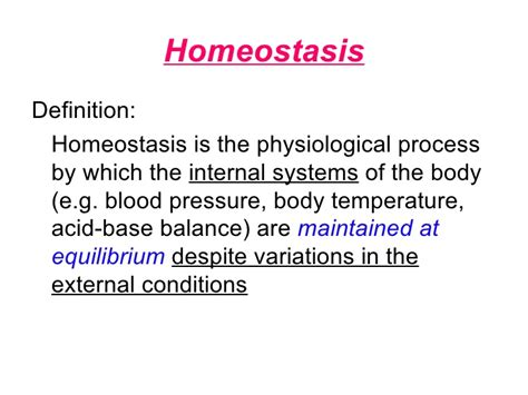 i 3 1 the definition chapter 12 homeostasis lesson 1 the need for homeostasis