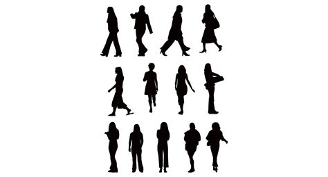 silhouette vector silhouette people walking clipart clipart suggest
