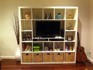 tv shelving unit expedit unit for smaller tv ikea hackers ikea hackers