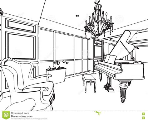 outline sketch drawing interior perspective of house stock