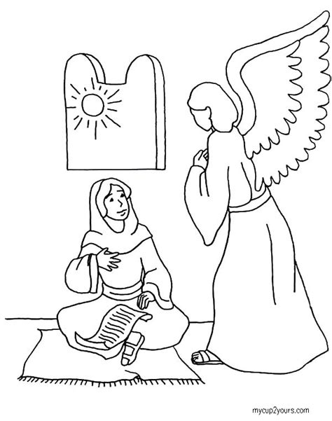 coloring page of angel visiting mary coloring pages angel gabriel visits mary coloring pages