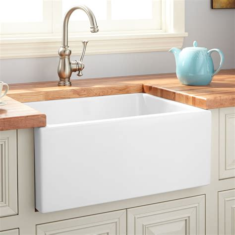 Kitchen With Apron Sink 24 Quot Fireclay Reversible Farmhouse Sink Smooth Apron White Kitchen