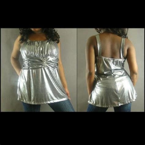 Patchwork Baby Doll Empire Waist Blouse Top by Silver Pewter Baby Doll Empire Waist Plus Tank Top