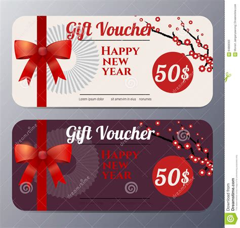 new year gift new year gift voucher template vector illustration