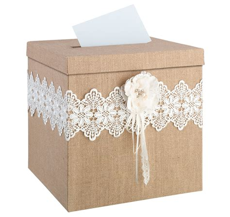 wedding card post box next day delivery burlap and lace card box