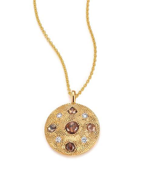 de beers talisman 18k yellow gold pendant