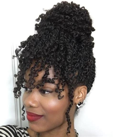 curly hair in high bun with bang 30 hot kinky twists hairstyles to try in 2018