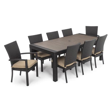 Rst brands deco 9 piece patio dining set with maxim beige cushions op pets9 dec mxm k the home