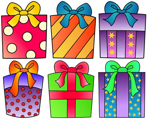 presents clip gift clipart birthday celebration pencil and in color