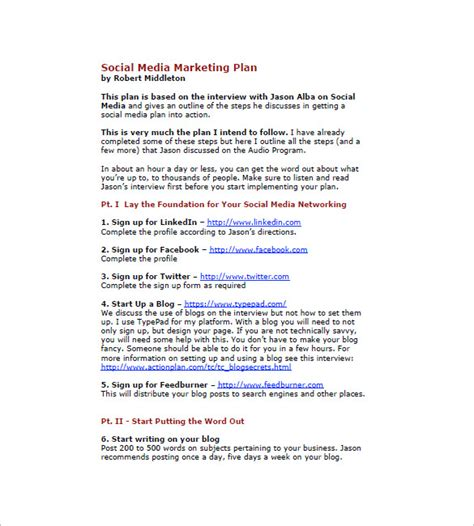 media business plan template 11 social media marketing plan templates free sle