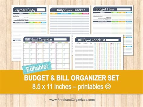 printable finance organizer budget and bill organizer set editable personal finance