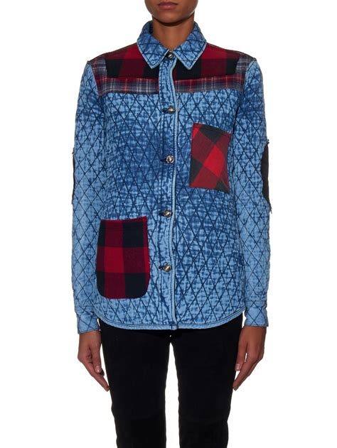 Patchwork Apparel - tortoise quilted plaid patchwork cotton jacket in blue lyst