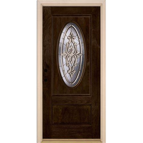 Feather River Doors 37 5 In X 81 625 In Silverdale Brass Pre Hung Front Door