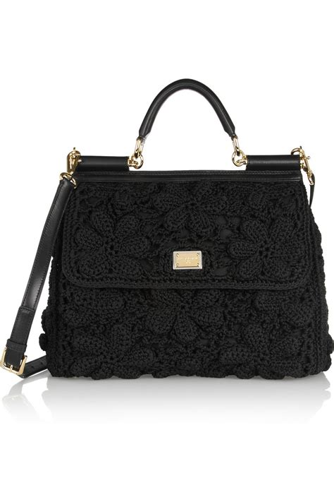Dolce And Gabbana Clamshell Shoulder Bag by Dolce Gabbana Miss Sicily Crochet And Leather Shoulder