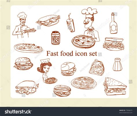 doodle food icons set food icon doodles set stock vector 77808673