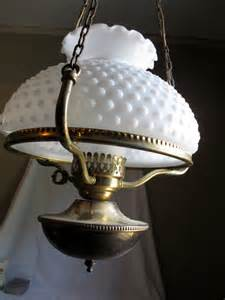 White Hobnail Vase Colonial Brass Hanging Lamp W Frosted Hurricane And White