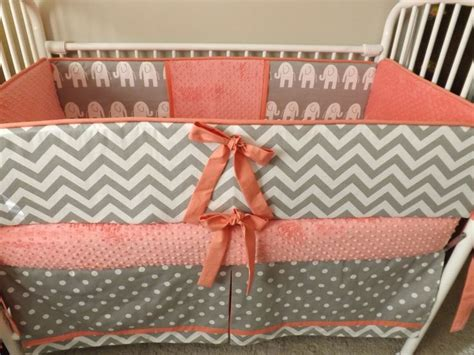 gray and coral bedding baby bedding crib set coral gray chevron girl deposit only crib sets girls and chevron