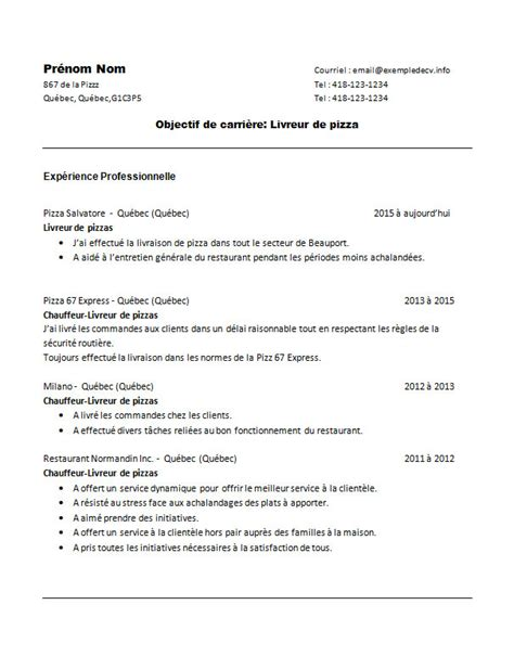 Exemple De Lettre De Motivation Livreur Pizza Modele Cv Livreur Pizza One Cv