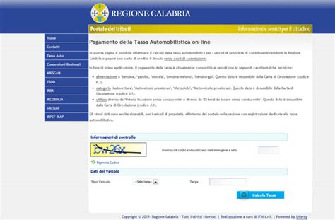 regione calabria ufficio tributi regione pagamento tassa auto possibile on line