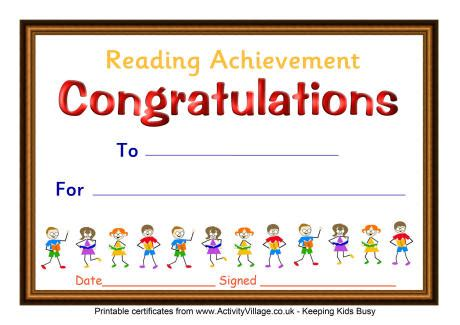 reading certificate template reading achievement certificate