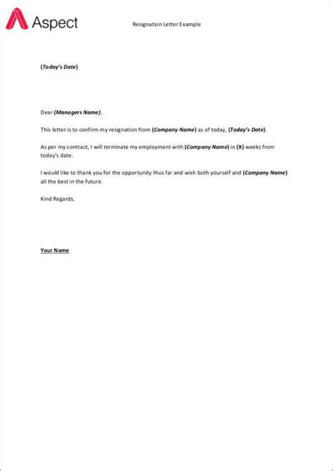 standard resignation letter samples ms word