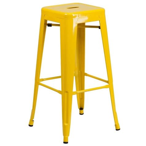 backless metal bar stools metal 30 backless bar stool in yellow ch 31320 30 yl gg