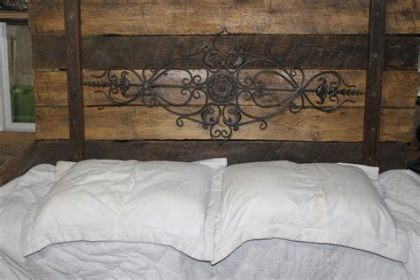 Iron And Wood Headboards wrought iron rustic wood headboardcassidey by reclaimvintagecharm