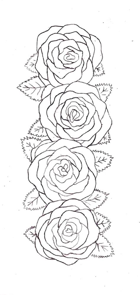 collection of 25 rose tattoo outline