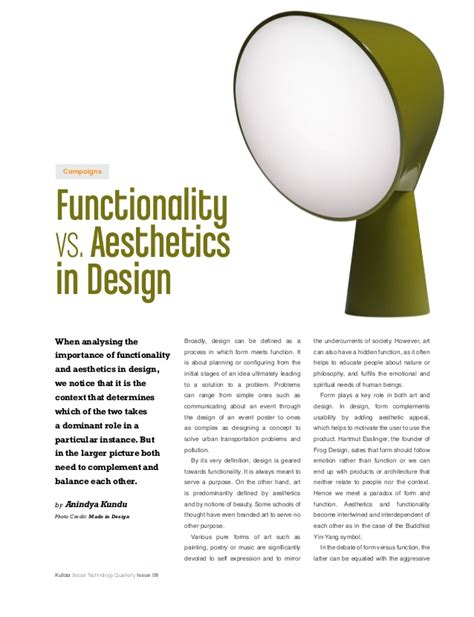 design philosophy definition functionality vs aesthetics in design