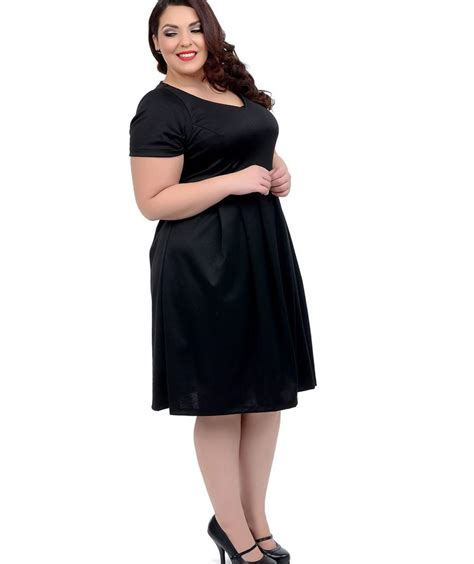 plus swing dress black swing dress plus size pluslook eu collection